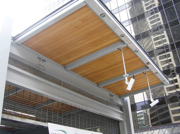 Canada Line station - wood overhang