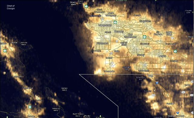 Google Maps mashup of global light pollution – Price Tags