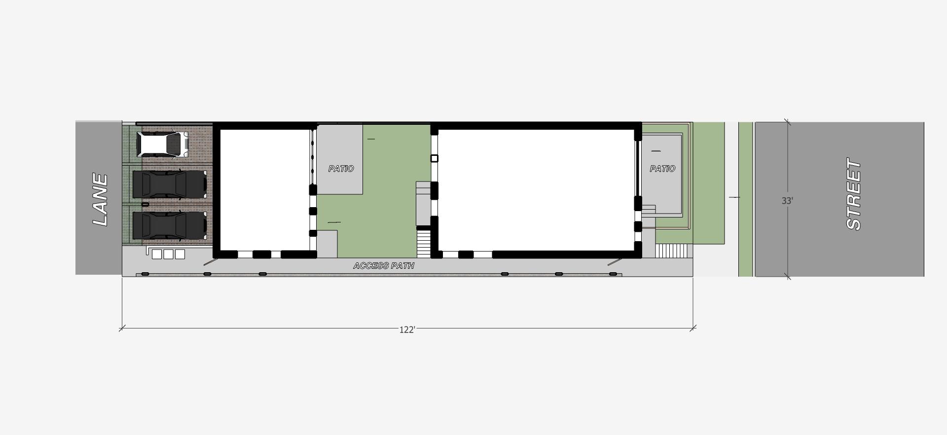 33x122 rowhouse 4 plex - plan