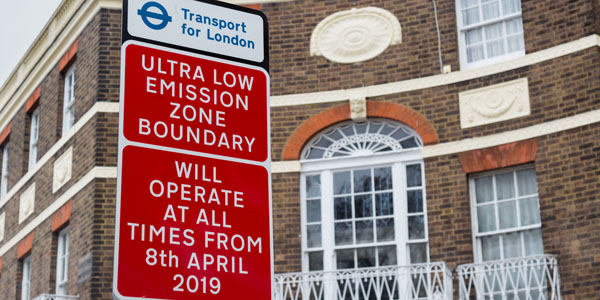 ULEZ signage in Kennington ahead of the scheme starting in 2019