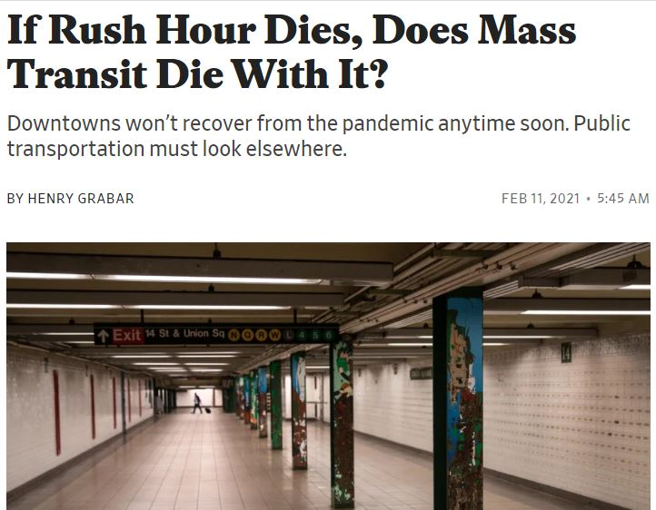 """Featured image for """"No Rush Hour, No Transit?  The Pandemic Ultimatum"""""""