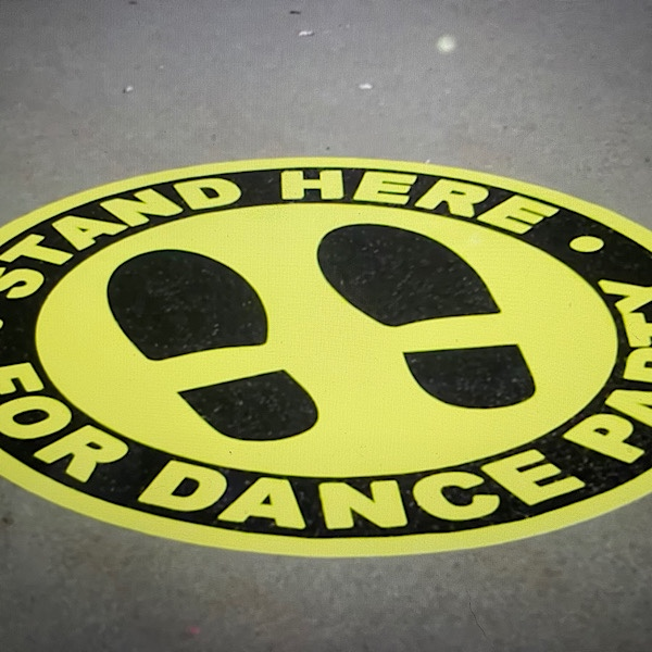 """Featured image for """"Public Pop Up Surprise:  Stand on this Decal for Dance Party"""""""